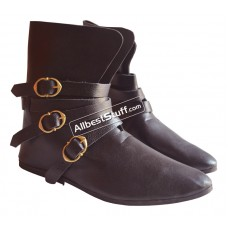 SALE! Medieval Leather Shoe Three Brass Buckle Brown