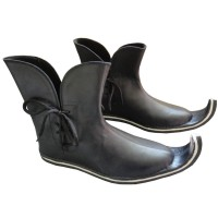 Medieval Leather Pirate Shoes Black