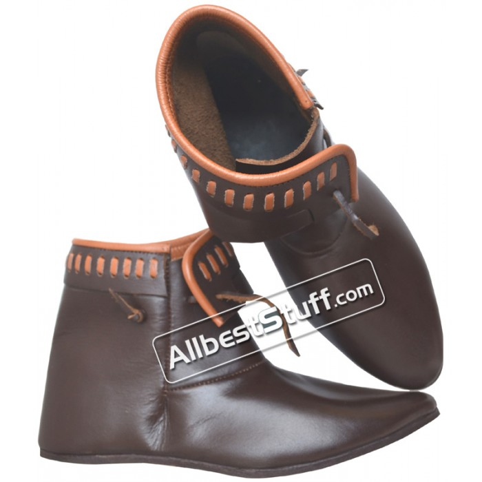 Medieval Leather Renaissance Shoes Ankle Length