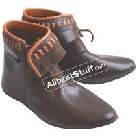 Medieval Leather Decorated ankle boots Renaissance Ankle Length Shoes