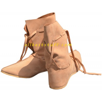 Medieval Natural Leather Shoes 10 Inch