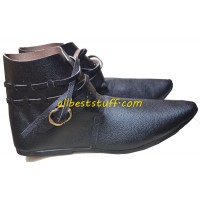 Medieval Leather Shoe Single Brass Buckle