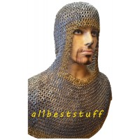 Flat Riveted Maille Coif with Brass Edging across Face and Bottom Helm