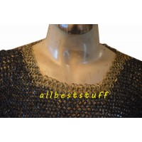 Round Riveted Chain Mail with Round Riveted Brass Neck 4 Rows