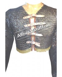 Half Chain Mail Shirt Front Fasteners with Brass Trim