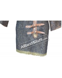 Chain Mail Shirt with Front Fasteners Leather Piping and Brass Trim