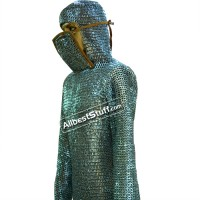 Flat Riveted Chain Mail with Integrated Coif and Bottom Ventail