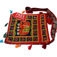VINTAGE LOOK HANDMADE INDIAN HANDICRAFT EMBROIDERY HANGING BOHO BAG