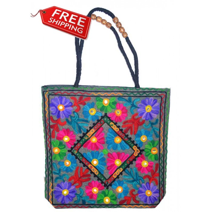 Multi Color Flower Embroidery Bag Multi Color