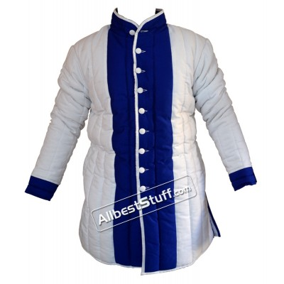 Thick Padded Gambeson White with Blue