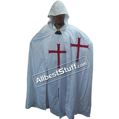 Medieval Crusader LARP Cosplay Costume Templar Knights Tunic CAPE Cross Cloak