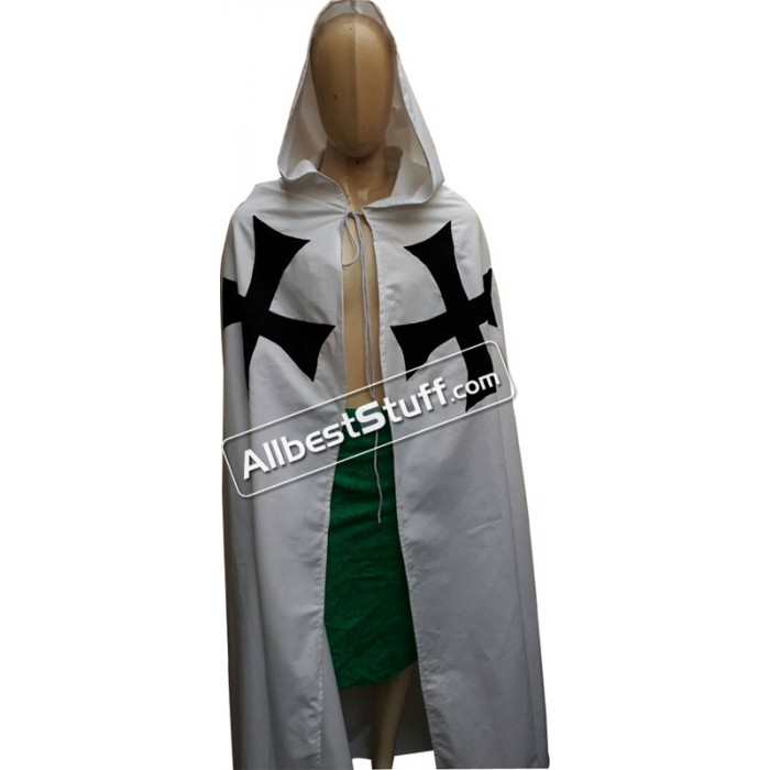 Medieval Warrior Larp Cosplay Costume Templar Knights Tunic Cape Cross Cloak