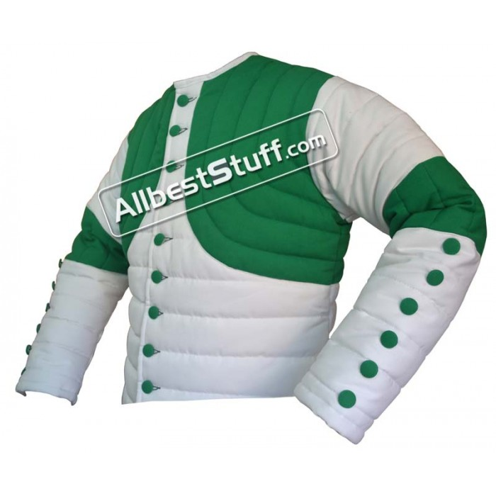 Thick Padded Design Gambeson White with Green