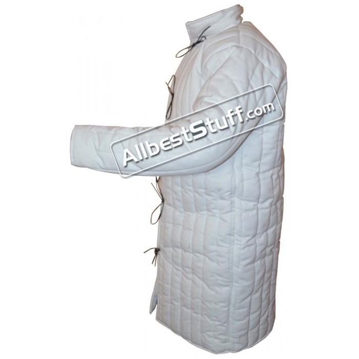 White Gambeson Padded Armour Aketon Medieval Coat Jacket