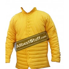 Thick yellow Color Slim Fitting Gambeson Medieval Padded Collar Full Sleeves