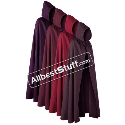 Medieval Historical Outerwear Cotton Cloak with Cape