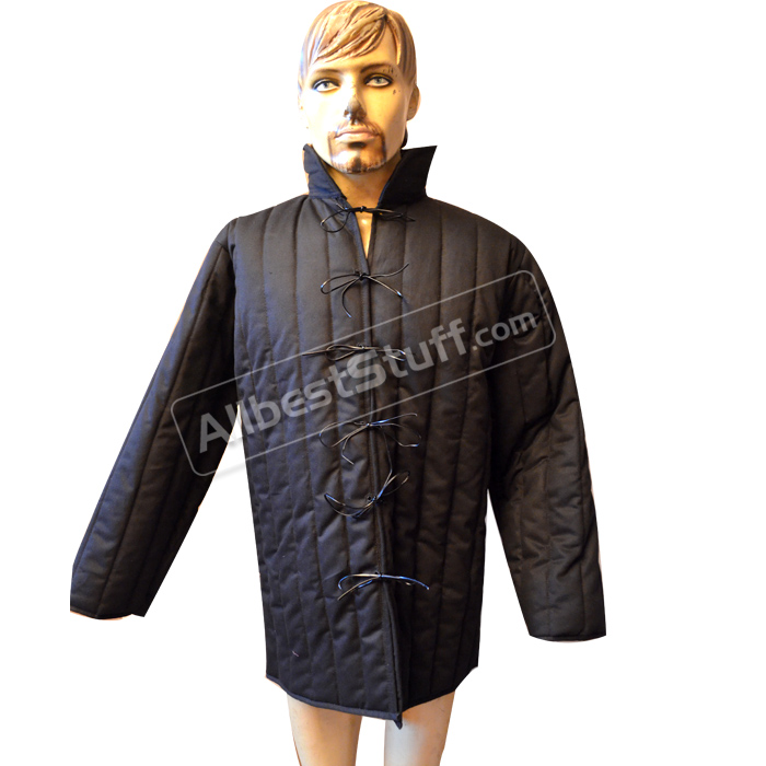 Black Gambeson padded armour medium Aketon Medieval Coat Jacket