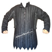 Black Cotton Gambeson with Round Riveted Chain Maille Voiders
