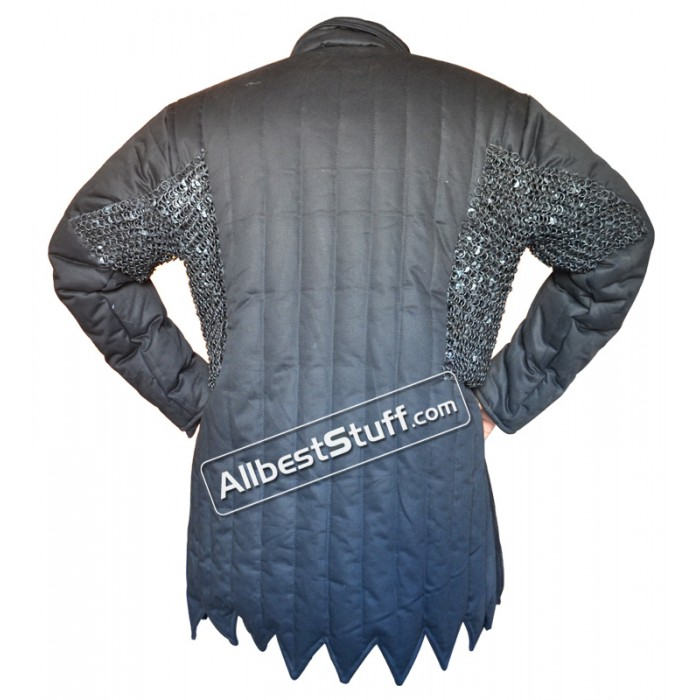 Black Cotton Gambeson with Stainless Steel Maille Voiders Rust Proof