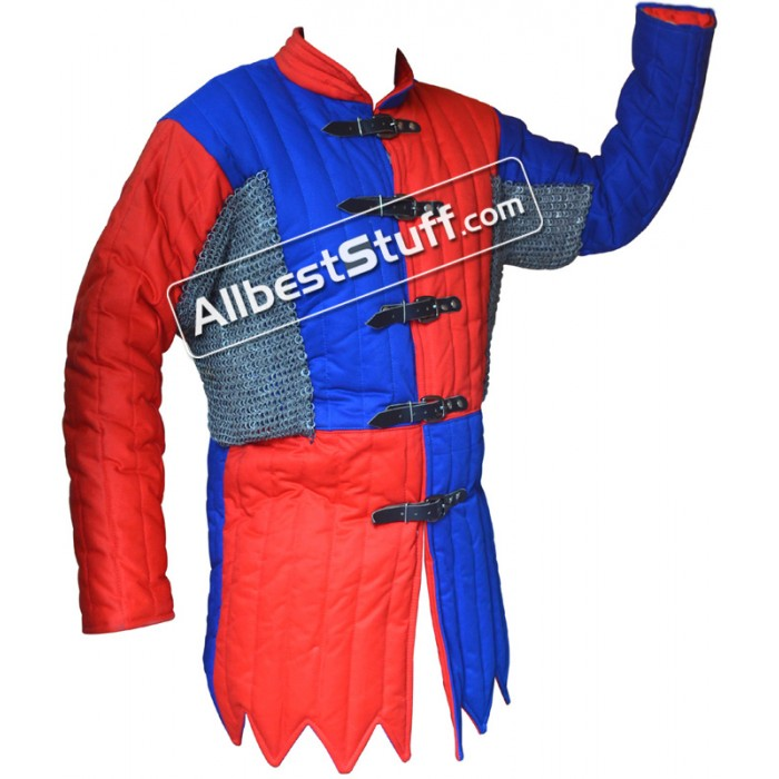 Multi Colored Cotton Gambeson with Riveted Maille Voiders
