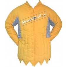 Cotton Gambeson Flat Riveted Maille Voider in Galvanized Finish