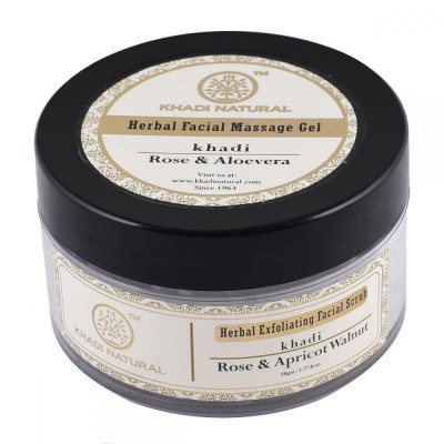 Khadi Natural Rose Apricot & Walnut Exfoliating Facial Scrub 50gm Skin Face Care