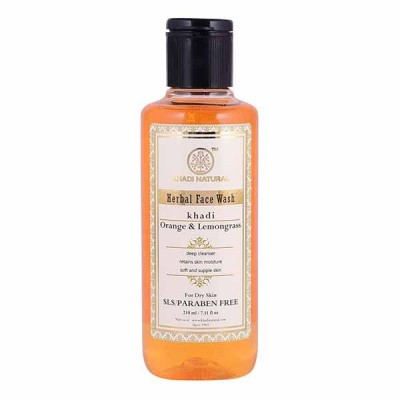 Khadi Natural Orange Lemongrass Face Wash SLS Paraben Free 210 ml Skin Face Care