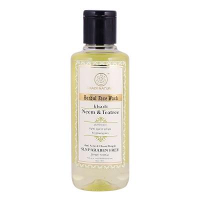 Khadi Natural Neem & Teatree Face Wash SLS & Paraben Free 210 ml Face Skin Care