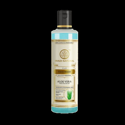 Khadi Natural Aloevera Face Wash With Scrub 210 ml SLS & Paraben Free skin care