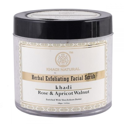 Khadi Natural Apricot & Walnut Cream Scrub Rose 100 gm Ayurvedic Skin Face Care