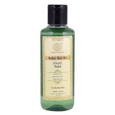 Khadi Natural Tulsi Hair Oil 210ml Ayurvedic Long Hair Fall Growth Dandruff Care