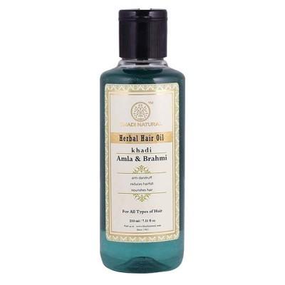 Khadi Natural Amla & Brahmi Hair Oil 210 ml Ayurvedic Long Strong Dandruff Care