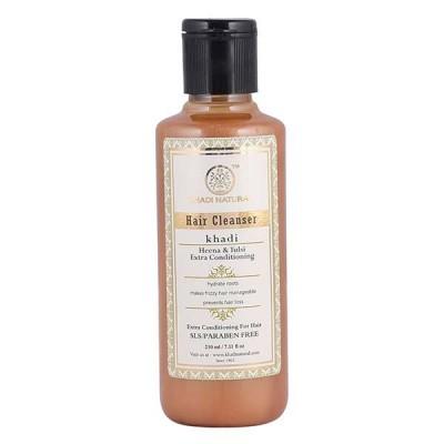 Khadi Herbal Heena Tulsi Extra Hair Conditioning Cleanser No SLS Paraben 210 ml