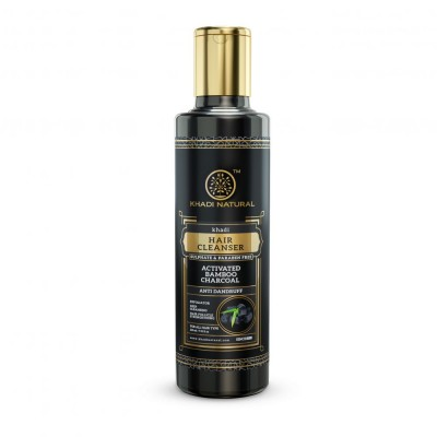 Khadi Natural Activated Bamboo Charcoal Hair Cleanser NO Sulphate Paraben 210 ml