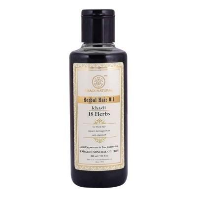 Khadi Natural 18 Herbs Hair Oil 210 ml Ayurvedic Herbal Long Growth Strong Hair