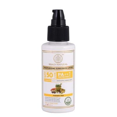 Khadi Natural Sunscreen Moisturizing Lotion 100ml SPF 50 Ayurvedic Face UVA Care