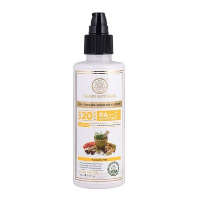 Khadi Natural Sunscreen Moisturizing Lotion 200 ml SPF 20 Ayurvedic Face Care