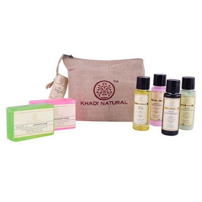 Khadi Natural Herbal Travel Kit has Ayurvedic Soap Face Wash Shampoo Conditioner
