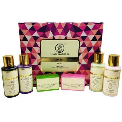 Khadi Natural Gift Box set of 6 Cleanser Body Wash Moisturizer Soap Conditioner