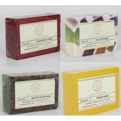 Khadi Natural Soap Combo Strawberry Mix Fruit Apricot Scrub Soaps Ayurvedic Care