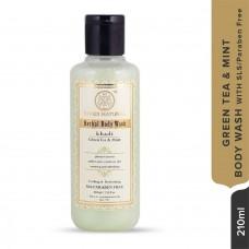 Khadi Natural Green Tea & Mint Body wash SLS & Paraben Free 210ML Ayurvedic Care