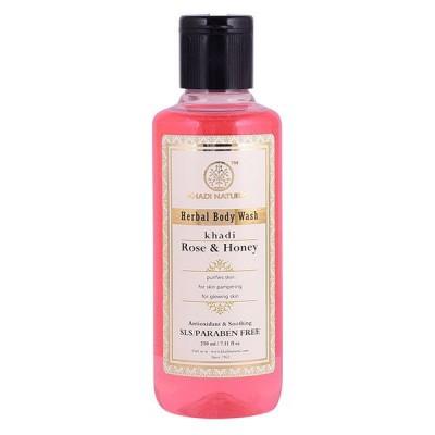 Khadi Natural Rose and Honey Body Wash SLS & Paraben Free 210 ML Ayurvedic Care