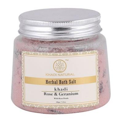 Khadi Natural Rose & Geranium With Rose Petals Bath Salt 200 gm Ayurvedic Care