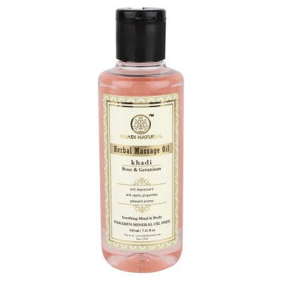 Khadi Natural Rose & Geranium Massage oil 210 ml Relax Mind Body With Mineral