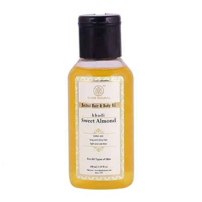 Khadi Natural Sweet Almond Hair & Body Oil 100 ml Ayurvedic Face Body Skin Care