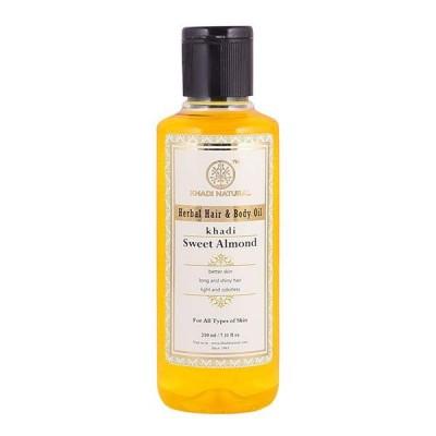 Khadi Natural Sweet Almond Hair & Body Oil 210ml Ayurvedic Face Skin Body Care