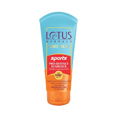 Lotus Herbals Safe Sun Sports Pro Defence Sunblock SPF 100+ Pa+++ 80gm Face Care