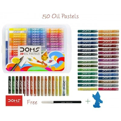 50 Oil Pastel 50 Shades in Plastic Pack DOMS Brand School Student Craft Kit Gift
