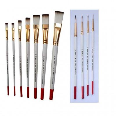 7 Flat & 4 Round Artist Quality Paint Brush TAKLON Hair art craft school gift