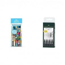 Apsara Scholars Kit + Faber Castell Pitt Artist 6 Pens Pitt Pens Black Art Gift